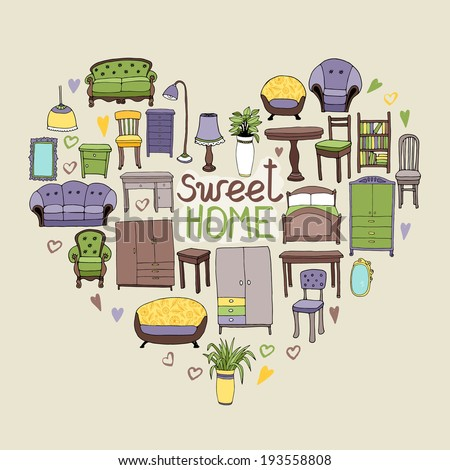 Sweet Home concept with various home accessories and furniture icons arranged in a heart shape symbolic of love and home interior decor with text - Sweet Home - stock vector