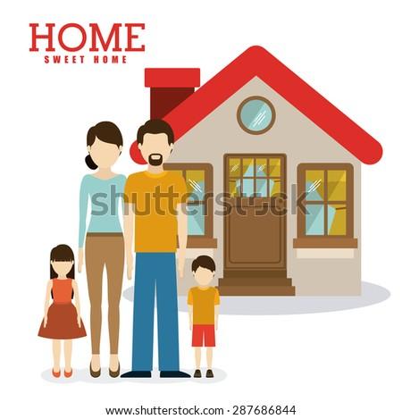 sweet home design over white background, vector illustration - stock vector