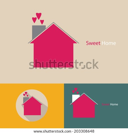 sweet home icon vector. - stock vector