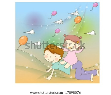 Sweet Home - riding on daddy's back with lovely and pretty little child on happy birthday party background with blue and colorful patterns - stock vector