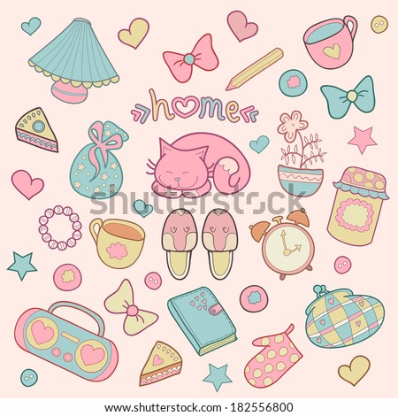 Sweet Home, set of vector design home elements, cute cat, cups of coffee, cake, jam, sneakers, alarm clocks, bows, hearts, stars, pencil, tape recorder and diary