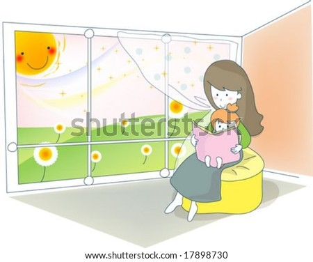 Sweet Home with Lovely Baby - reading a storybook with beautiful young female and pretty little child in living room on happy sunny day : vector illustration - stock vector
