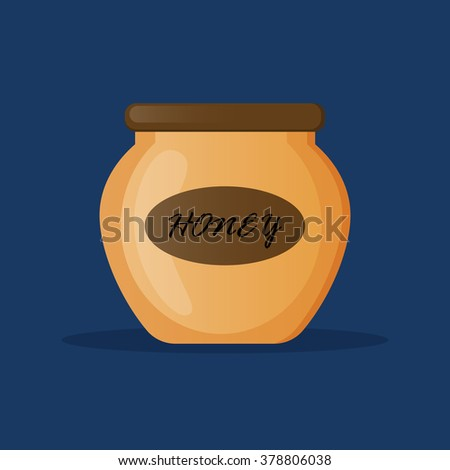 Sweet honey. Organic honey. Natural honey from apiary farm. Beekeeping product. Flat style vector illustration.