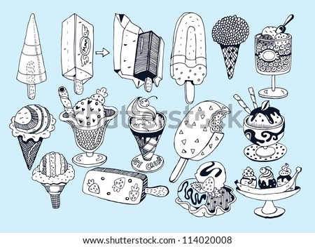Sweet Ice Cream Collection (hand drawn vector) - stock vector