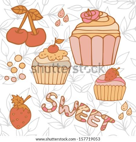 Sweet isolated cupcakes