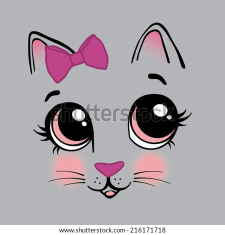 Sweet Kitty Face Little Girls Graphic Tee - stock vector