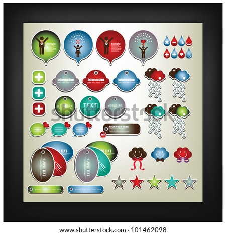 sweet label collection - stock vector