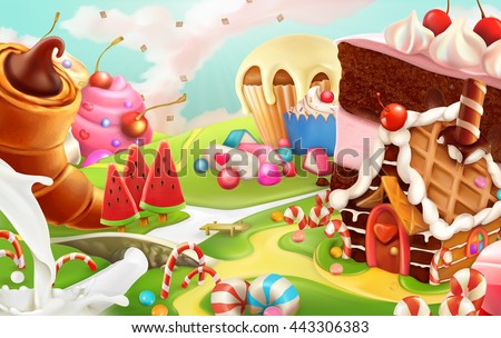 Sweet landscape, vector background - stock vector