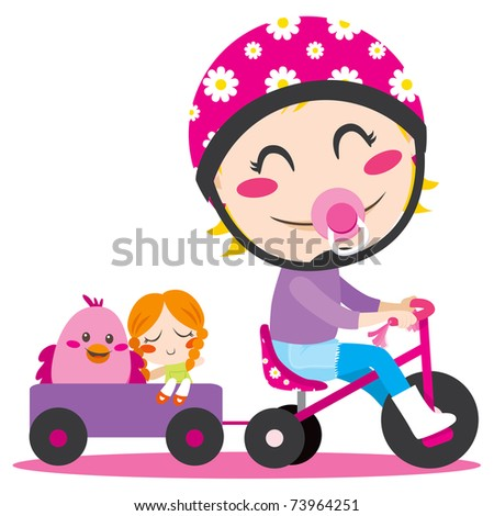 Sweet little girl driving a tricycle with trailer full of toys