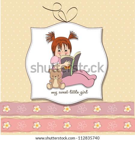 sweet little girl reading a book - stock vector