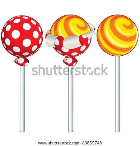 Sweet Lollipop unwrapping process, vector illustration - stock vector