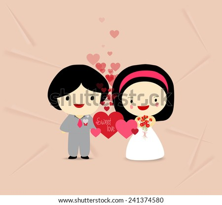 sweet love couple with hearts - stock vector
