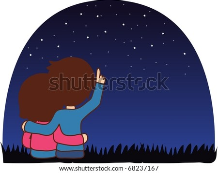 Sweet Love with the Sweet Lovers - sitting a cute boy and a lovely girl enjoy romantic date on the grass on a background of dark blue sky and star patterns : vector illustration - stock vector