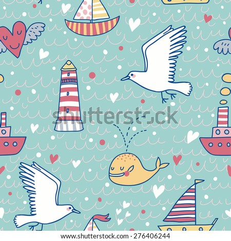 Sweet marine concept seamless pattern. Whale, boat, ship, lighthouse, seagull in funny cartoon background in vector. Stylish hipster theme in popular colors - stock vector