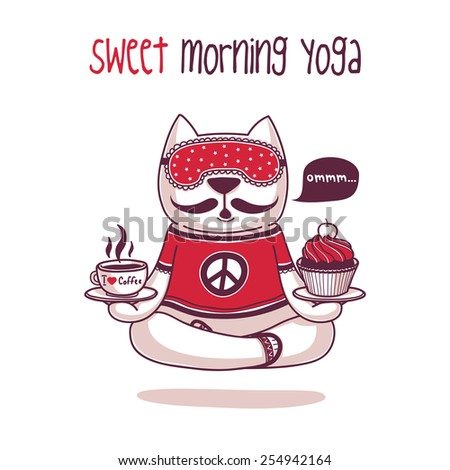 Sweet morning yoga - stock vector