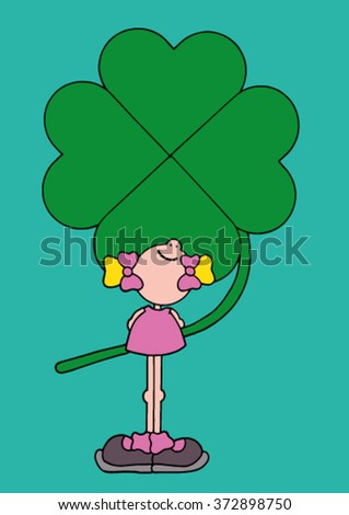 Sweet original hand drawn stock vector illustration of happy smiling girl in a pink dress holding a giant green four leave clover behind her back.  - stock vector