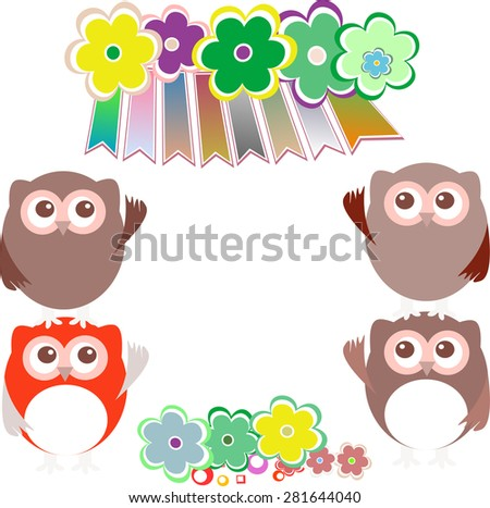 sweet owls and flowers mosaic vector - stock vector