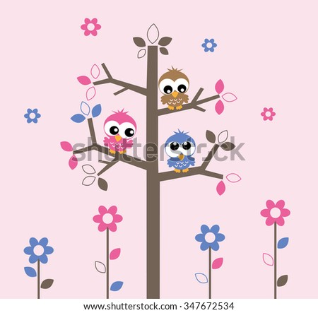sweet owls sitting in a tree wall decoration or cover - stock vector