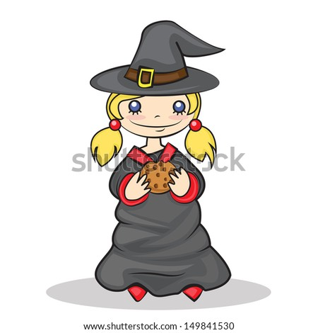 sweet painted girl in witch costume, collecting candy on Halloween