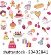 sweet party food set - stock vector