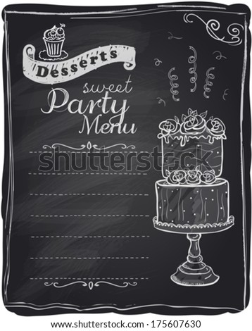 Sweet party menu, chalkboard mock up design with wedding cake and space for text