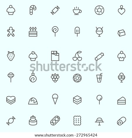 Sweet pastry icons, simple and thin line design - stock vector