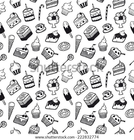 Sweet pattern black and white - stock vector