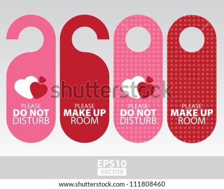 Sweet Pink Door Hangers for Wedding, Valentine, Romantic Room in Romantic Hotel and Resort- EPS10 Vector - stock vector