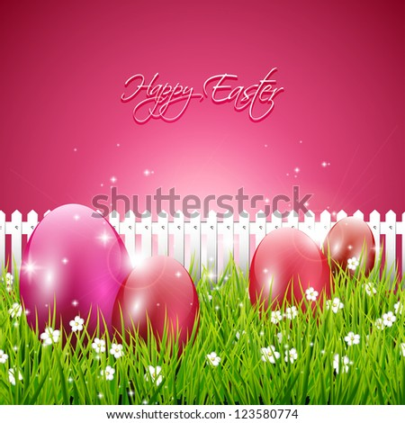 Sweet pink Easter background - stock vector