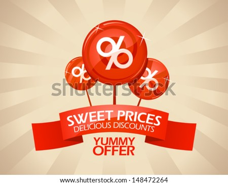 Sweet prices, delicious discounts design template. - stock vector