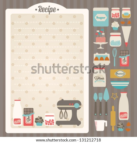 Sweet recipe vector card template + kitchen design elements - stock vector