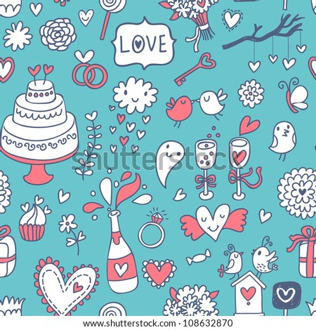 Sweet romantic seamless pattern in modern colors