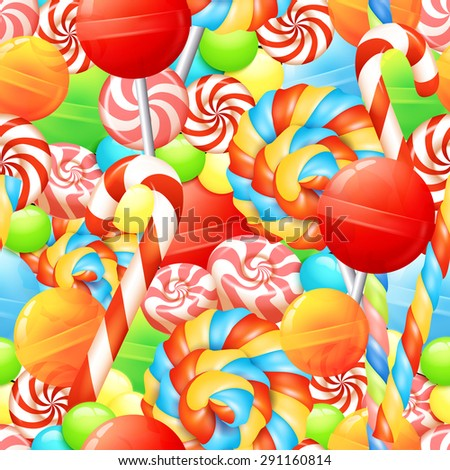 Sweet seamless pattern with colorful candies lollipops and bonbons vector illustration - stock vector