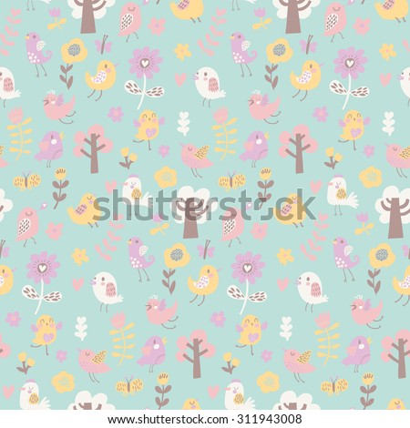 Sweet seamless pattern with cute birds and trees. Summer vector background in pastel colors. Seamless pattern can be used for wallpapers, pattern fills, web page backgrounds, surface textures - stock vector