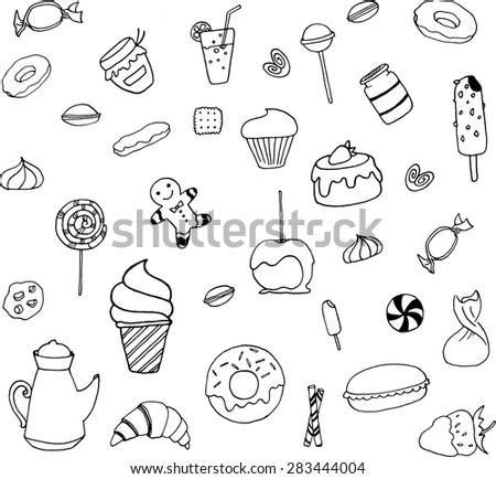 Sweet set of food with ice cream, candy, croissants, donuts, ma?arons, cake, jam, meringue, cocktail, marshmallows, cookies, isolated vector illustration