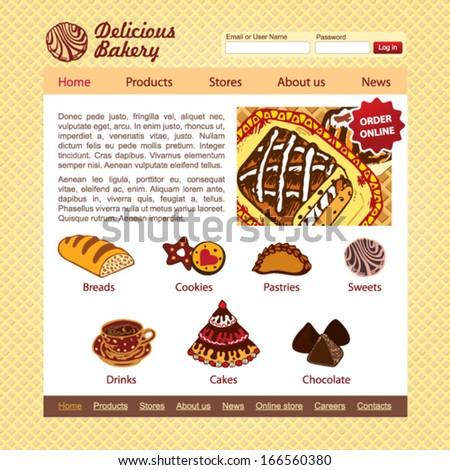 Sweet Shop and bakery website design vector template - stock vector