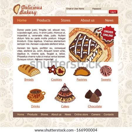 Sweet Shop, bakery and patisserie website design vector template - stock vector