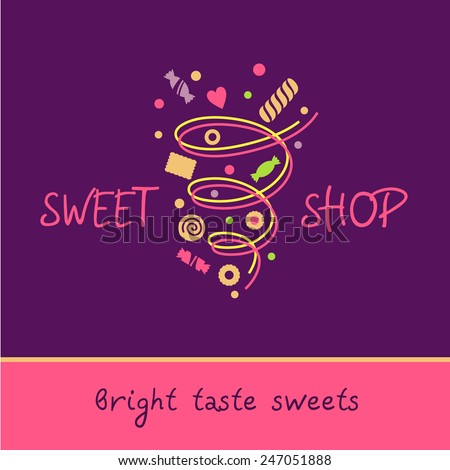 Sweet shop. Bright taste of sweets. Vector logo with the image of a vortex of sweets, biscuits, sweets. Purple, pink color - stock vector