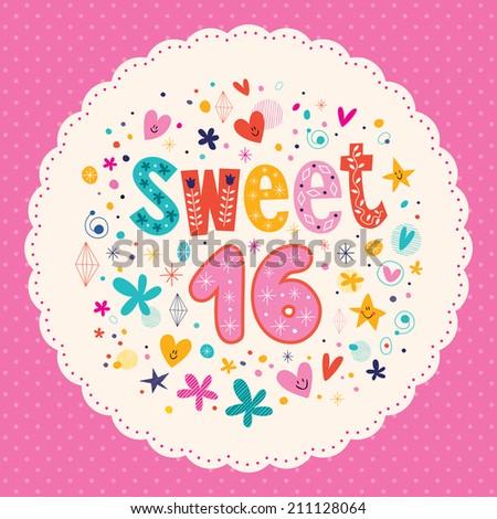 Sweet Sixteen card - stock vector