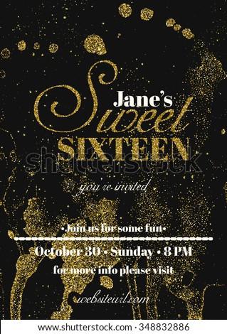 Sweet Sixteen Glitter Party Invitation Flyer Stock Vector 2018
