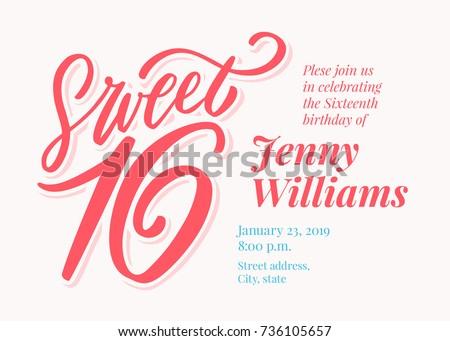 sweet 16 sixteenth birthday invitation template stock vector