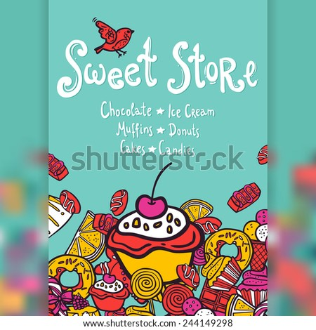 Sweet store with chocolate ice cream muffins donuts cakes and candies background vector illustration - stock vector