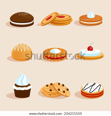 Sweet sugar chocolate biscuit cookies decorative icons set with cream and cherry decoration isolated vector illustration - stock vector