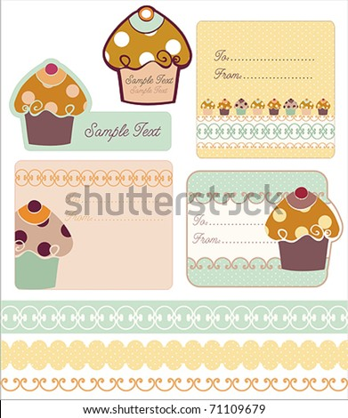 Sweet Tag & Borders Designs with Cupcake - stock vector