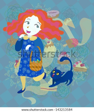 Sweet-tooth and her cat - stock vector