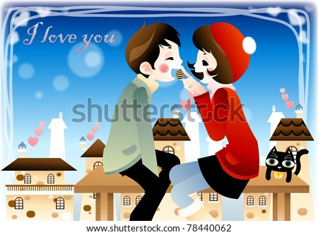Sweet Valentine for You - lovely couple sitting in bench chair and enjoy special event with a brown chocolate candy at the garden park on beautiful sunny day on white background : vector illustration - stock vector