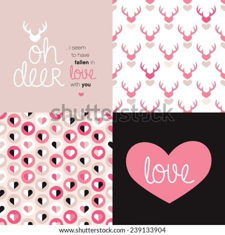 Sweet Valentine's day love message postcard cover design and seamless hearts and deer illustration background pattern in vector - stock vector