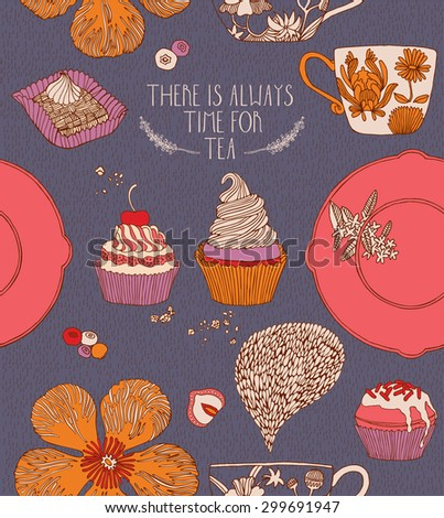 Sweet vector card in awesome colors. Tasty cupcakes, tea cups and berries in stylish vintage style.