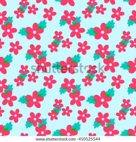 Sweet vector pattern with small flower. Small cute pink flowers on a blue background. - stock vector