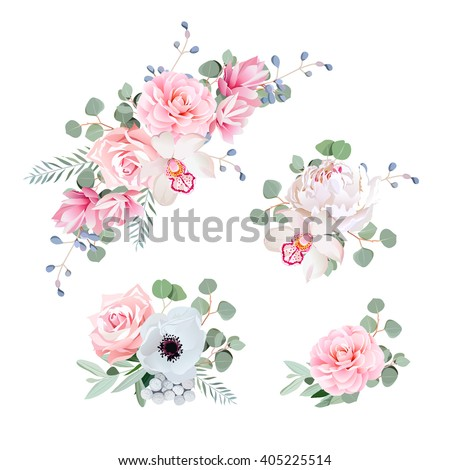Sweet wedding bouquets of rose, peony, orchid, anemone, camellia, blue berries and eucaliptis leaves. Vector design elements.  - stock vector